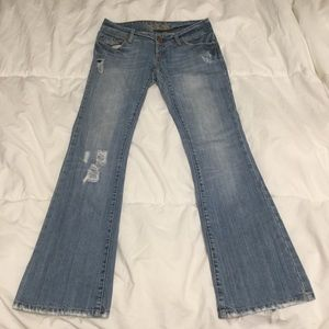 American Eagle Light Blue Distressed Flair Jeans